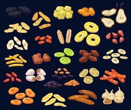 Dried fruits and berries dessert set. Prune, mango and ginger, kumquat, pear and apple, dogwood, melon and pineapple, rosehip, dates and kiwi, banana, fig and white raisin, lemon and papaya, apricot