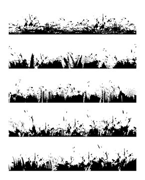 Grungy frame border with paint splatters. Ink blob, splash and spots lines, dirt or mud drops, brush stroke with dripping, smeared black paint stains vector. Divider grunge design element