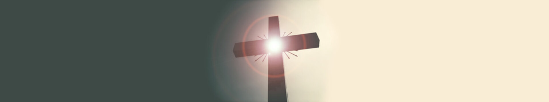 banner of Cross glowing, circle lens flare, dividing dark and light areas