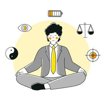 Workplace yoga, Vector illustration flat design. Self-reflection, harmony, balance at work.