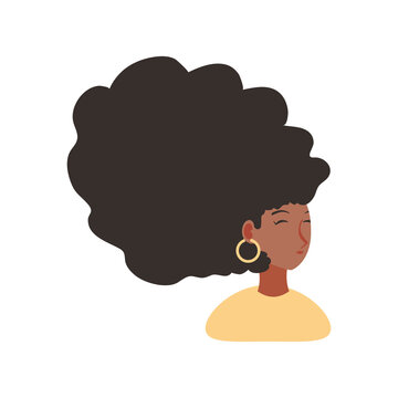 afro american woman character in cartoon style white background