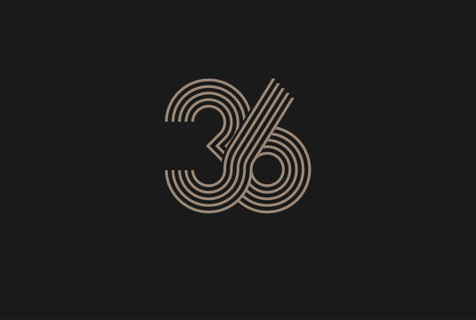 Number 36 Logo, Monogram Number 36 logo multi line style, usable for anniversary and business logos, flat design logo template, vector illustration