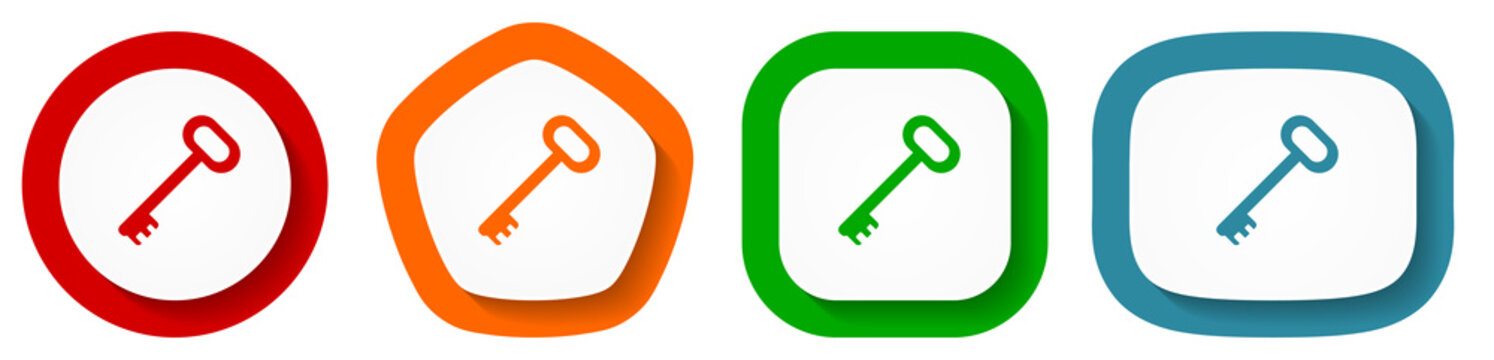 Key vector icon set, flat design buttons on white background