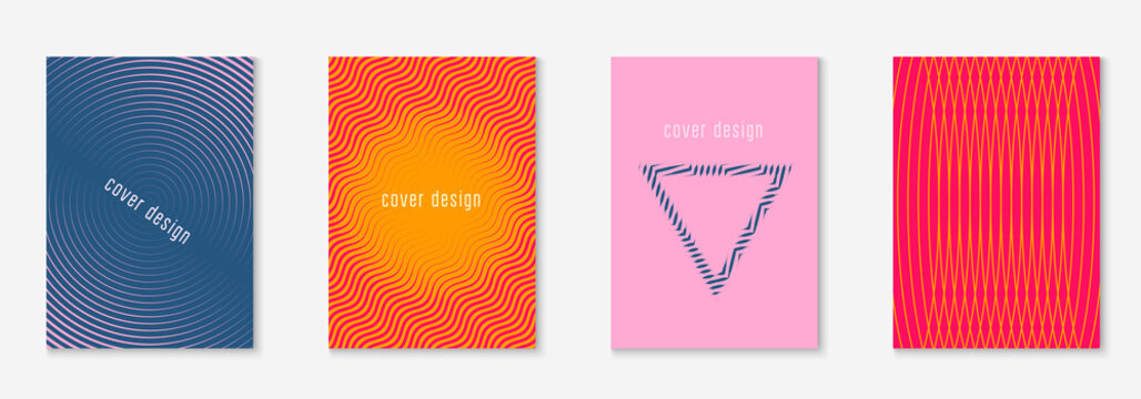 Line geometric elements. Multiply mobile screen, page, patent, book layout. Orange and pink. Line geometric elements on minimalist trendy cover template.