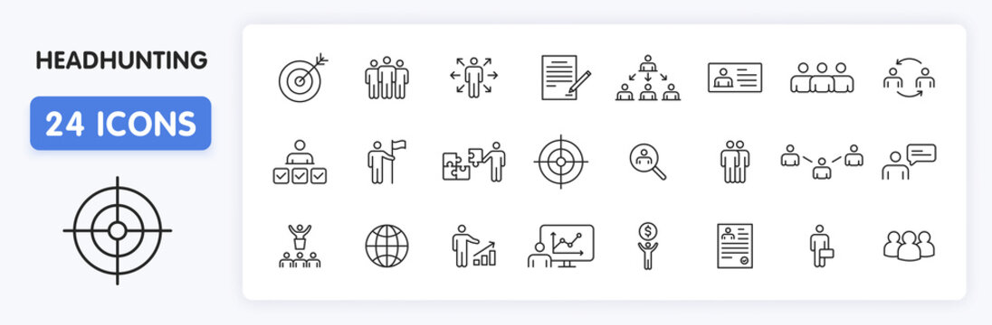 Set of 24 Headhunting web icons in line style. Skills, work, professional, employment, management, teamwork. Vector illustration.