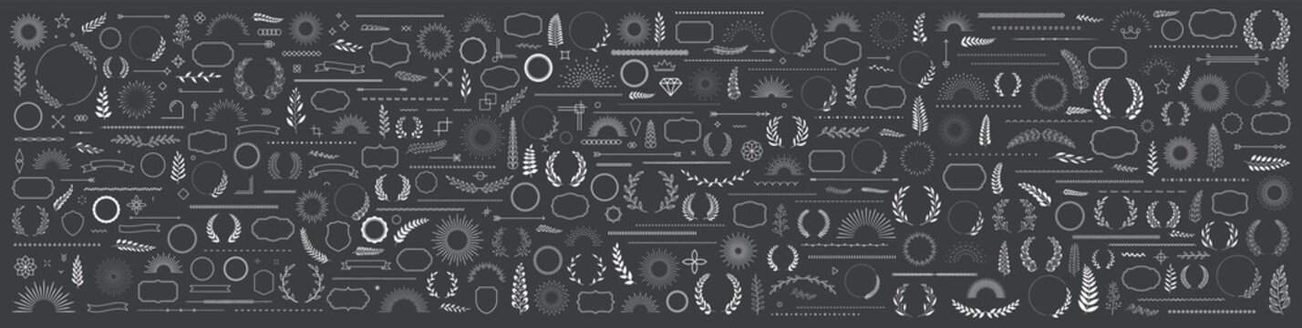 Set of 400 design elements. Wreath, frames, calligraphic, swirls divider, laurel leaves, ornate, award, arrows. Decorative vintage line elements collection. Vector illustration.