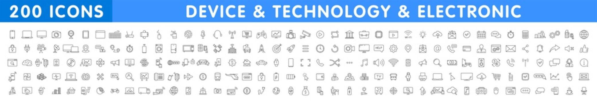 Big set of 200 Technology and Electronics and Devices web icons in line style. Device, phone, laptop, communication, smartphone, ecommercem, network, business, media. Vector illustration.