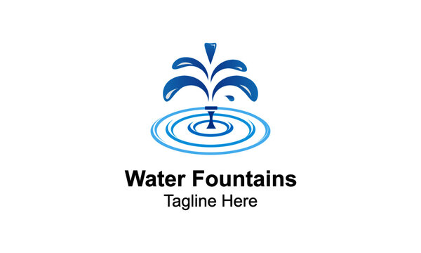 Water Fountains Logo Design Template With Pond-Water jet fountain logo template. Linear fountain silhouette design. Water splash logotype,
