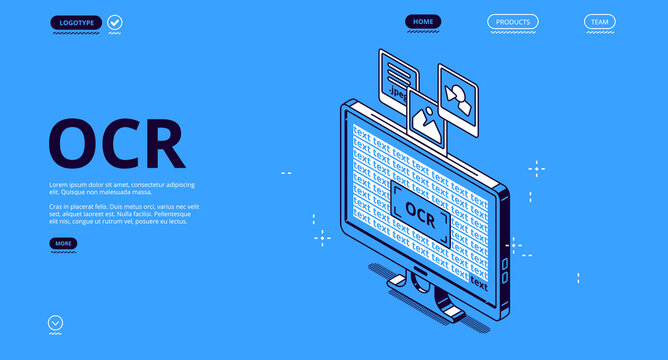 Optical character recognition, ocr isometric landing page. Electronic conversion handwritten script or image data to machine encoded text, computer technologies concept, 3d vector line art web banner