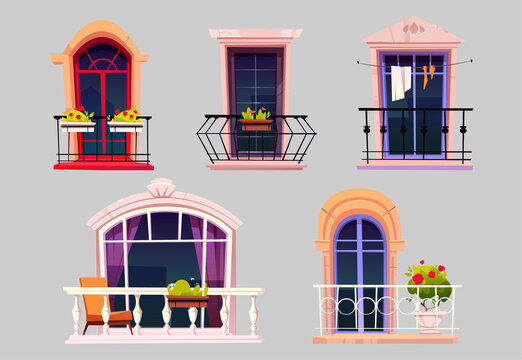 Vintage balconies with glass doors, windows, flowers in pots and fences. Vector cartoon set of balconies with metal railing and white balustrade, chair and plants on terrace. House facade elements