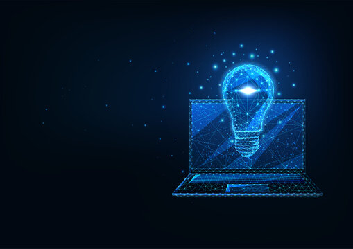 Futuristic creative business idea concept with glowing low polygonal laptop and light bulb