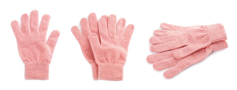 Set of pink woolen gloves on white background. Banner design