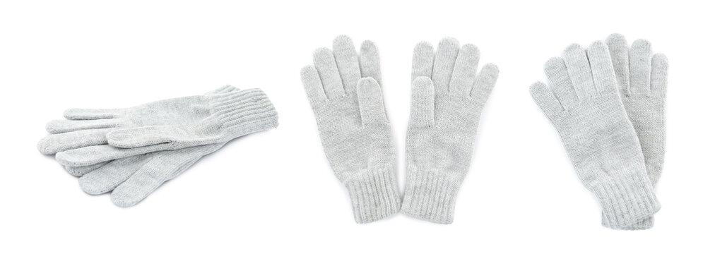 Set of light grey woolen gloves on white background. Banner design