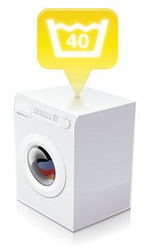 Washing machine and washing at 40 degrees