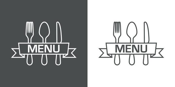Logotipo con palabra Menu escrito en listón sobre cubiertos con lineas en fondo gris y fondo blanco