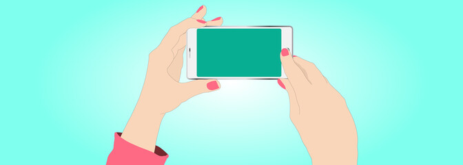 Female hands shooting with a smartphone. copy space, realistic, web header, footer, banner, blue, background, mockup, landscape