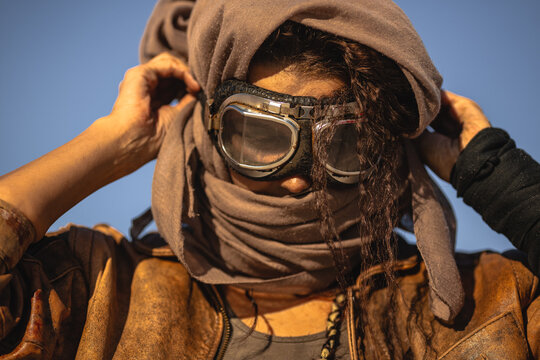 Post-apocalyptic Woman Outdoors in a Wasteland