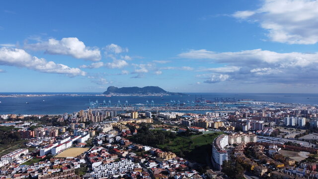 Algeciras drone high view, we can also see the gibraltar rock in the background of the photo.