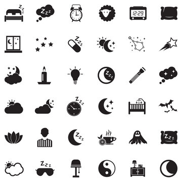 Sleep Icons. Black Flat Design. Vector Illustration.