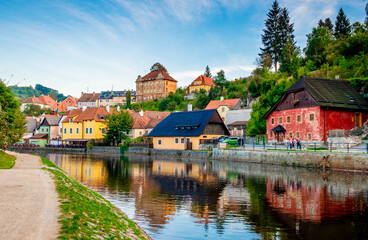 Fototapeta Amazing view of river in front of exciting Cesky Krumlov cityscape