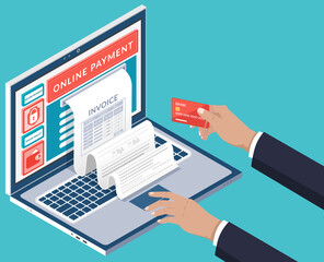 Wall Mural - Mobile payment or money transfer with laptop concept. E-commerce market shopping online app isometric illustration. Businessman using easy online payment service with a modern transaction application