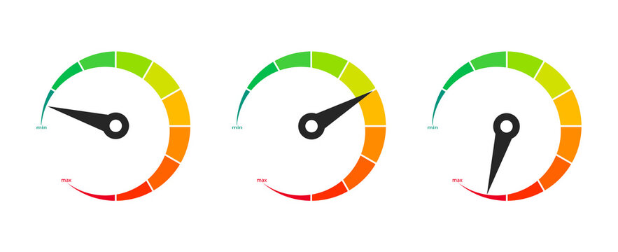 Set of color vector speedometer. Speedometer icon, modern flat design. Rating customer satisfaction. Level indicator. Tachometers. Internet Speed. Speed, power and fuel gauge meter stages. Ratings.