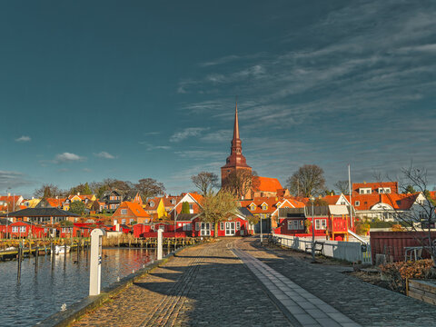 Nysted harbor marina on Lolland in rural Denmark