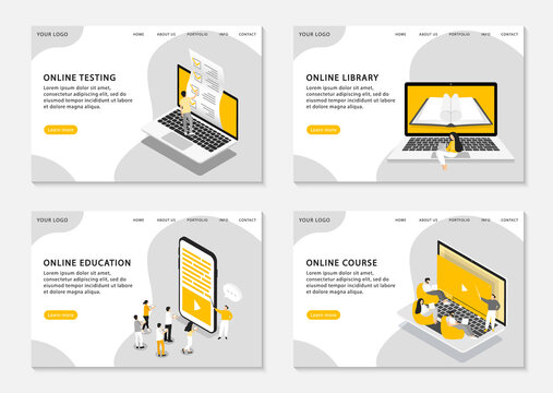 Set of web page templates for online education, online courses, online testing and online library. Vector illustration