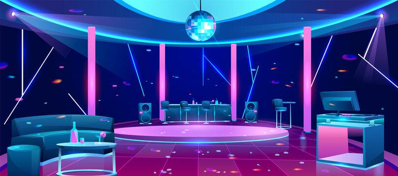 Nightclub dance floor cartoon vector interior