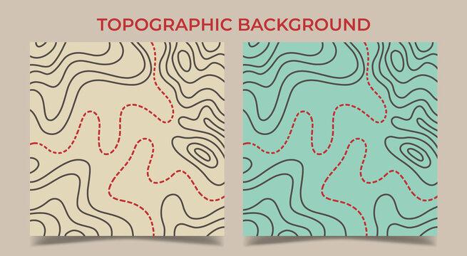 Topographic сontour map background. Vector illustration.
