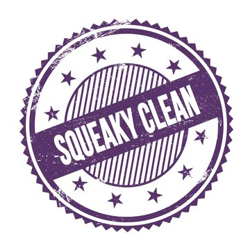 SQUEAKY CLEAN text written on purple indigo grungy round stamp.