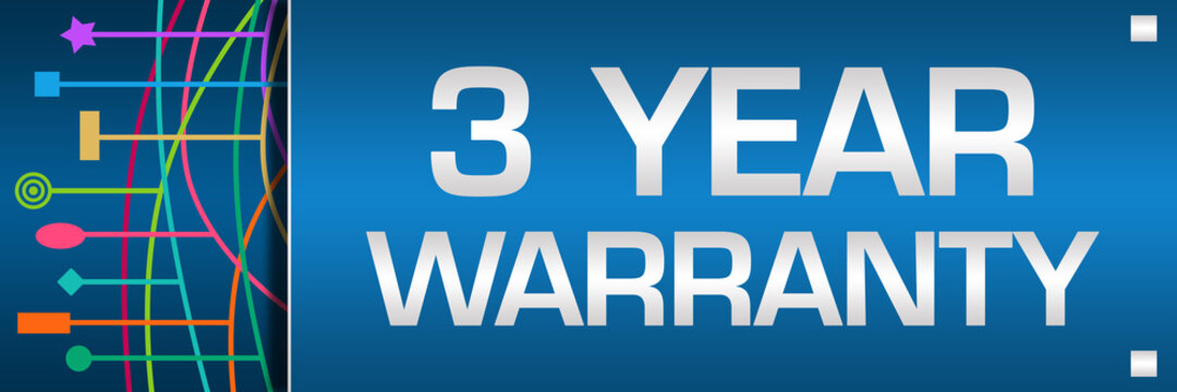Three Year Warranty Blue Left Colorful Abstract Elements Horizontal