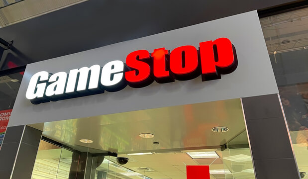GameStop store sign located in the Sawgrass Mills Mall.  GameStop is an electronics retail company their stock rocketed from about $40 to almost $400 in a matter of days.