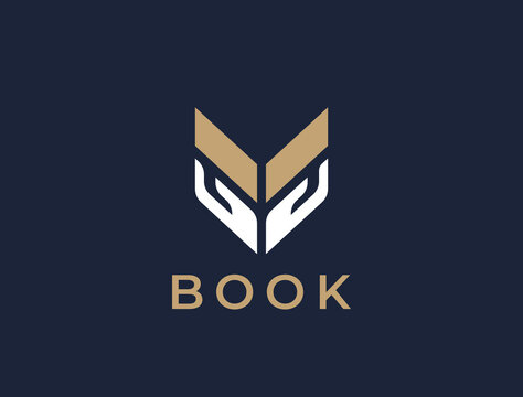 Hands with book logo. Education symbol. Abstract reading book logotype.
