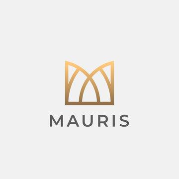 Letter M logo template. Modern elegant logotype.