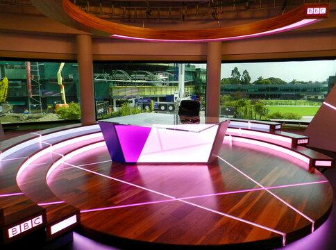 Wimbledon BBC studio set. All England Lawn Tennis and Croquet Club. London, United Kingdom. Aug. 16, 2016.