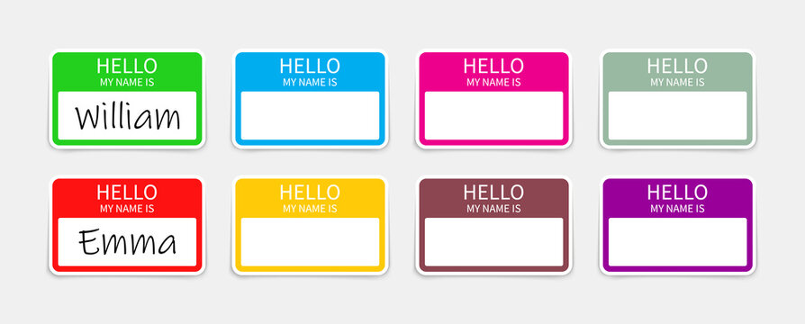 Name badge. Tag of hello. Sticker or card with my nametag. Label with hi. Paper card for identification teacher, speaker on meet and corporate. Template for registration on conference. Vector
