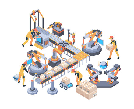 Conveyors belt. Machinery packaging moving wheel industry line vector factory isometric. Conveyor belt, machinery production gear illustration