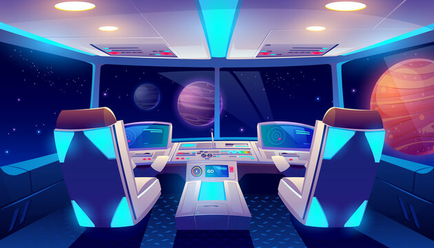 Spaceship cockpit interior space and planets view