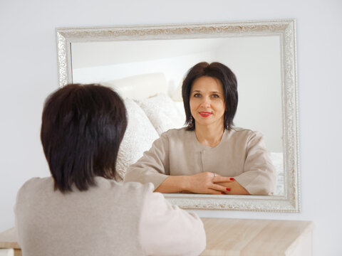 portrait of a girl at the mirror