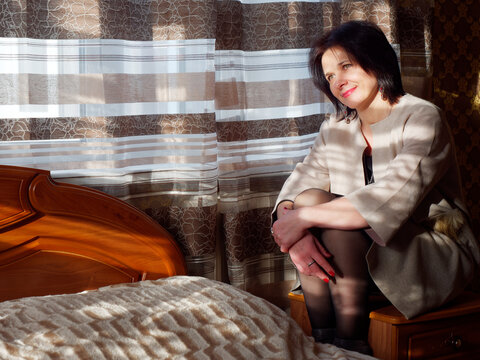 portrait of a girl on a big bed