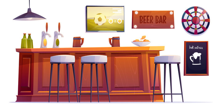 Beer bar stuff, pub desk with bottles and cups