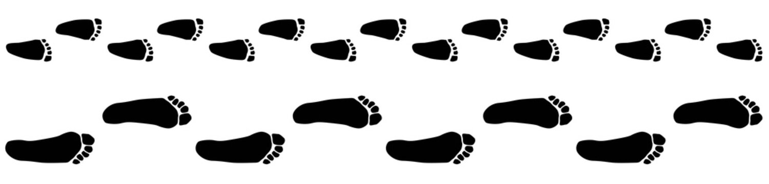 Image of footprints of baby and adult isolated,vector silhouettes, parenthood concept, barefoot