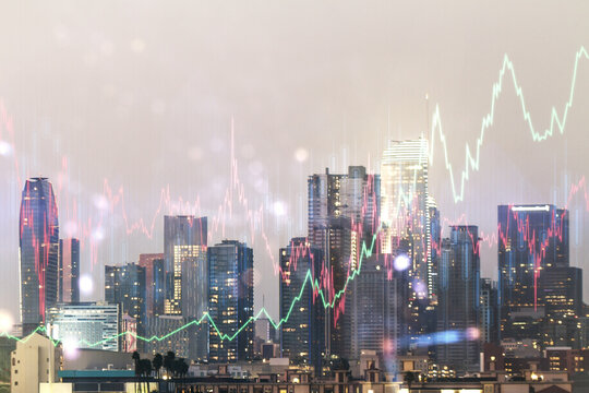 Multi exposure of abstract virtual financial graph hologram on Los Angeles skyline background, forex and investment concept