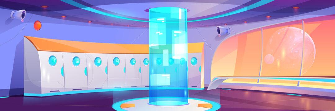 Futuristic school hallway interior with lockers