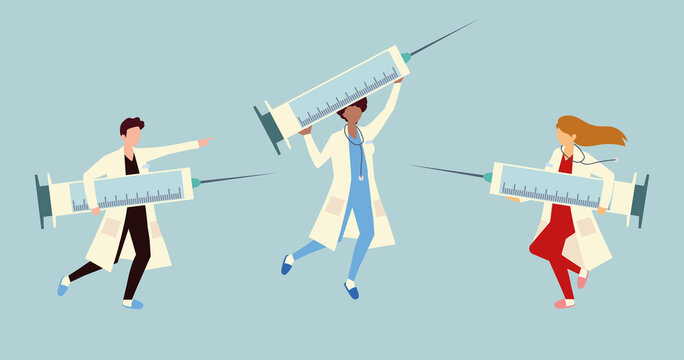 group medical with big syringe for vaccine