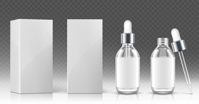 Glass dropper bottle for cosmetic oil or serum and white package box in front and angle view. Vector realistic mockup of empty flask with pipette and silver cap for medical drops or skincare product