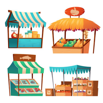 Food market stalls with vegetables, cheese and fish on counter and in crates. Vector cartoon set of grocery wooden kiosks with farm produce, traditional marketplace tents isolated on white background