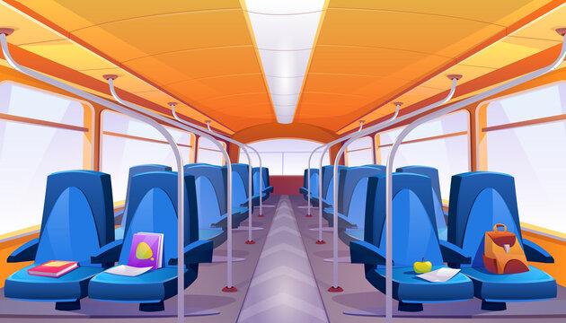 Vector empty school bus interior with blue seats