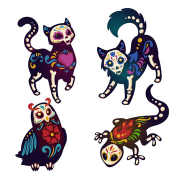 Dia de los Muertos, mexican Day of Dead with animals skeletons. Vector cartoon set of black cat, dog, owl and lizard with colorful pattern of bones, skulls, heart and flowers isolated on white